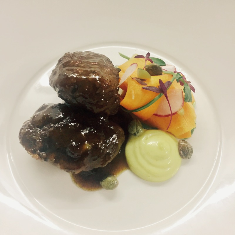 Ruby Ale & Laverbread Pig's Cheeks, Pickled Carrot & Beer Mustard Mayo