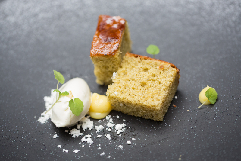 Lemon Cake with Lemon Curd Ice-Cream - Serves 4