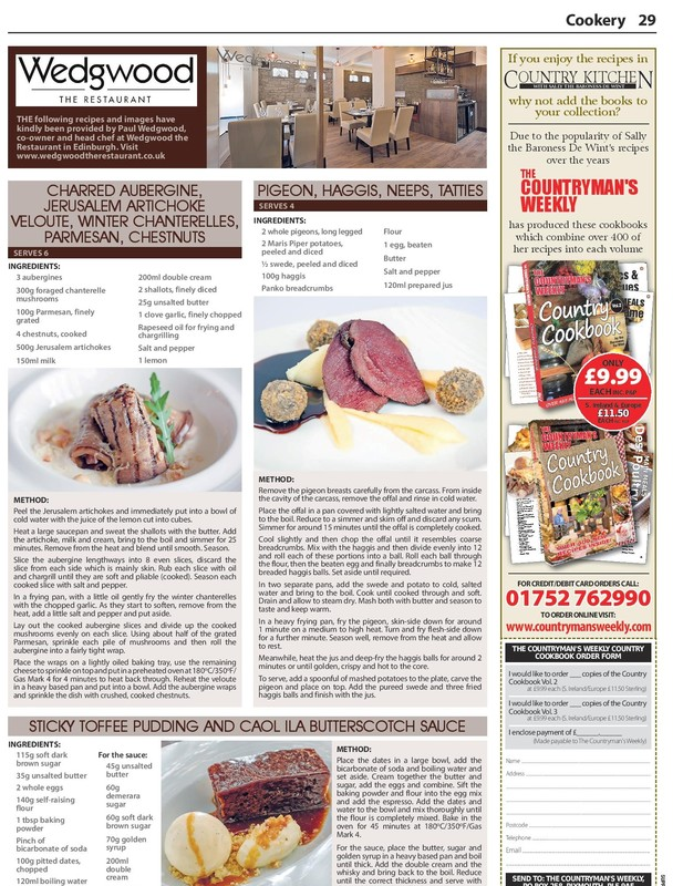 Wedgwood recipe page in The Countryman's Weekly - 1