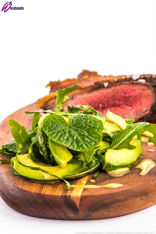 Roasted Rump Cap with Westlands Wasabi Leaf and Avocado Salad, Citrus Dressing