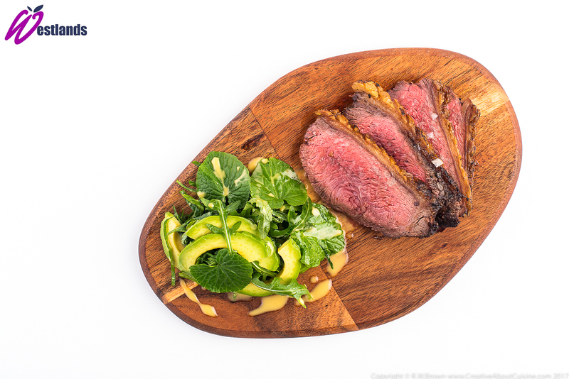 Roasted Rump Cap with Westlands Wasabi Leaf and Avocado Salad, Citrus Dressing - 1