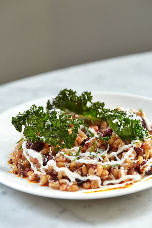 Sour Cherry Pearl Barley, Crispy Kale, Yoghurt, Chilli Butter & Sheep's Cheese - Serves 6-8