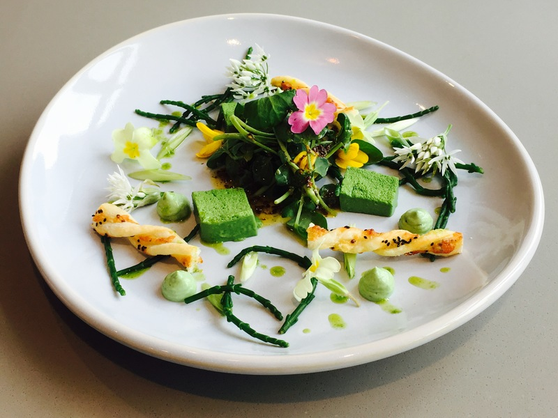 Cheddar & Mustard Straws, Wild Garlic Custards & Samphire & Linseed Salad