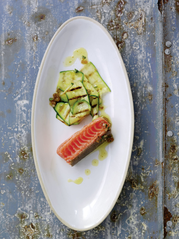 Mi-Cuit Norwegian Fjord Trout, Grilled Courgettes and Sauce Vierge - Serves 4