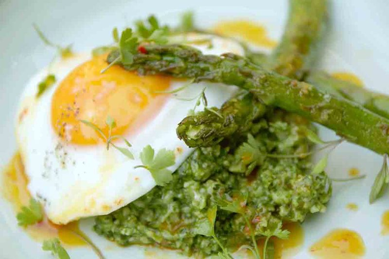 Green Pea Porridge, Chargrilled Asparagus &  Fried Egg