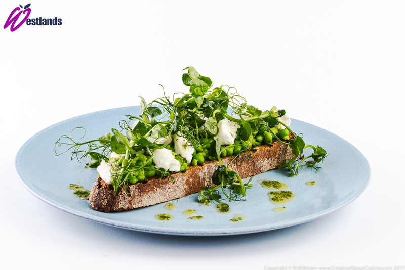Crushed Pea, Goats Cheese and Oregano Bruschetta with Westlands Pea Shoot Salad
