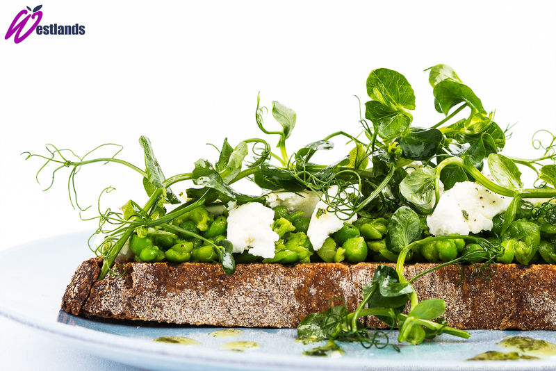 Crushed Pea, Goats Cheese and Oregano Bruschetta with Westlands Pea Shoot Salad - 1