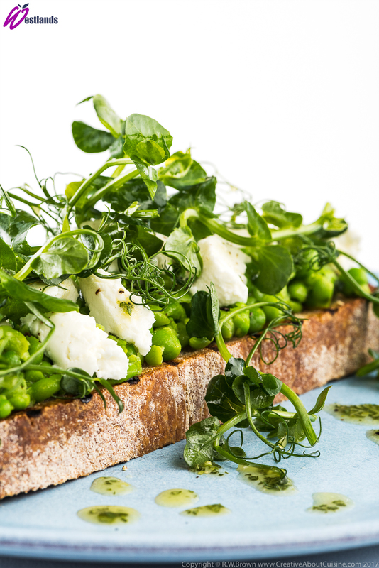 Crushed Pea, Goats Cheese and Oregano Bruschetta with Westlands Pea Shoot Salad - 2