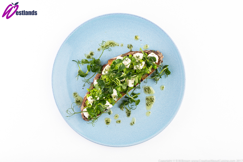 Crushed Pea, Goats Cheese and Oregano Bruschetta with Westlands Pea Shoot Salad - 3