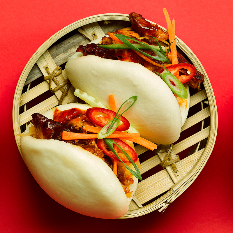 Korean style pork belly strips with hirata buns & crunchy vegetables