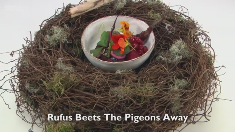 Rufus Beets the Pigeons Away - my starter for Great British Menu 2017