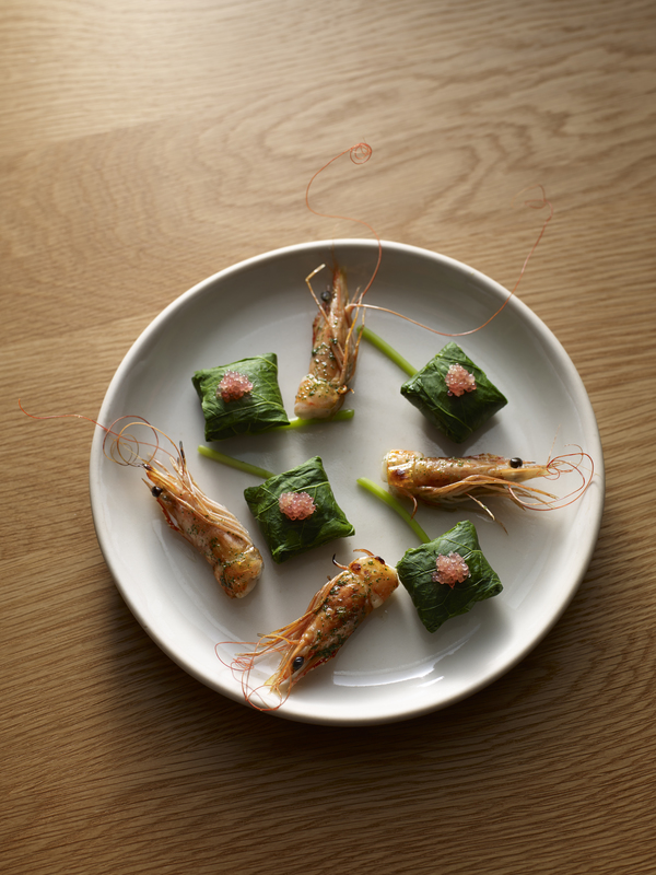 Prawn, nasturtium and finger lime from the menu at Brae Restaurant