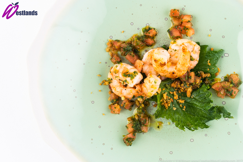 Fried Tiger Prawns with Westlands Green Shiso and chilli salsa