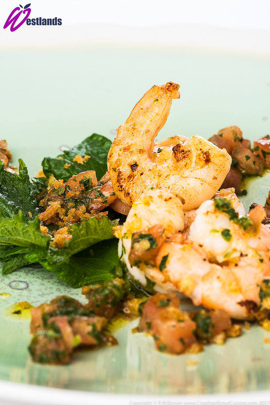 Fried Tiger Prawns with Westlands Green Shiso and chilli salsa - 1