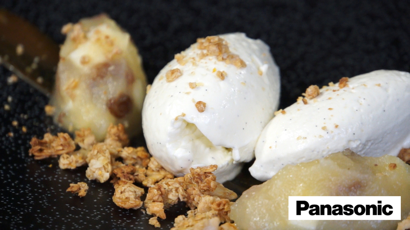 Apple and sultana compote with cheesecake cream and toasted granola using a Panasonic Microwave