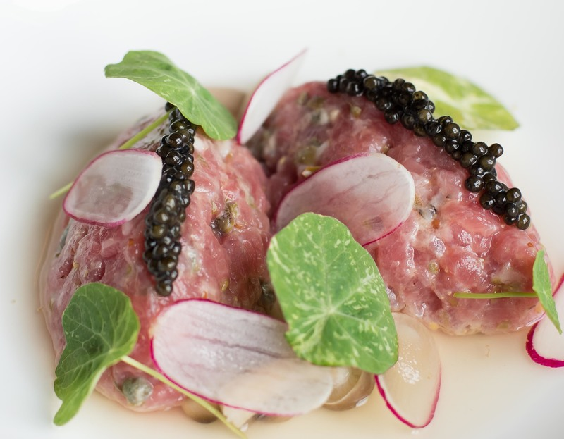 Tartare of rose veal, porthilly oyster and Exmoor caviar, dashi and a nori cracker