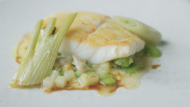 Roast fillet of turbot English peas, jersey royal potatoes and cockles - 1