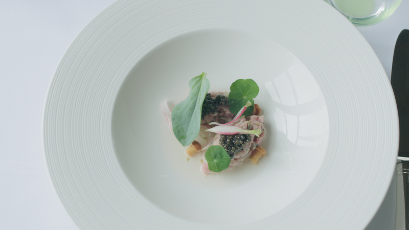 Tartare of rose veal, porthilly oyster and Exmoor caviar, dashi and a nori cracker - 3