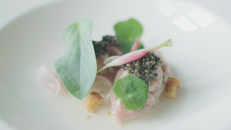 Tartare of rose veal, porthilly oyster and Exmoor caviar, dashi and a nori cracker - 2