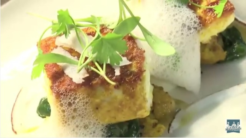 Parmesan crusted halibut, curried cauliflower, lime emulsion, coconut and coriander