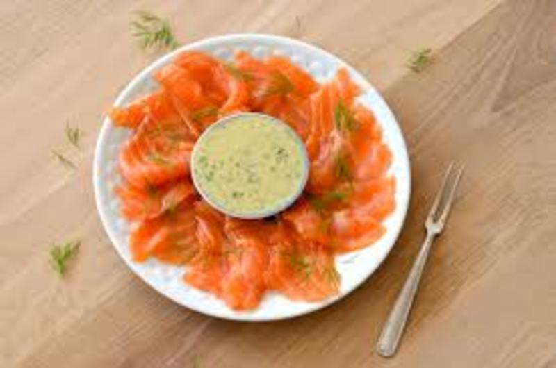 Salmon gravadlax with grain mustard and dill