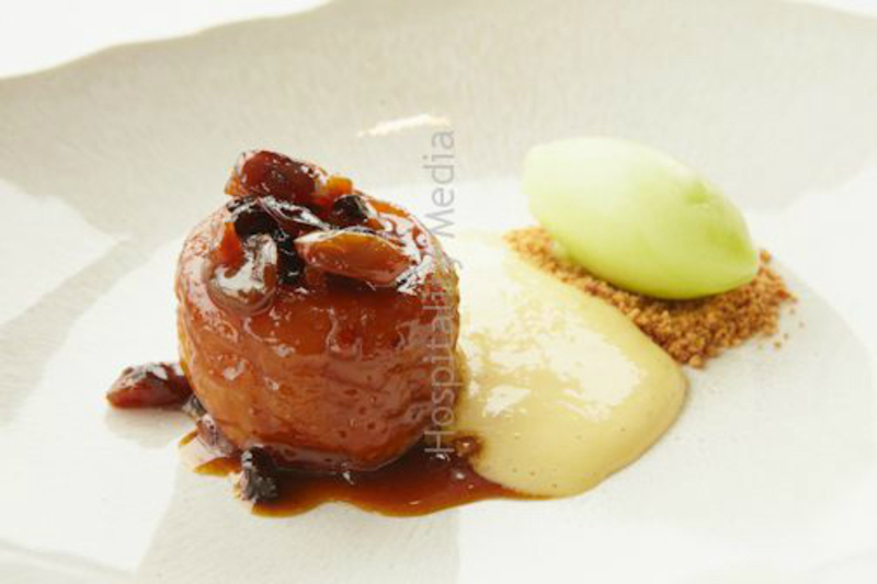 Baked apple, creme anglaise espuma and apple sorbet