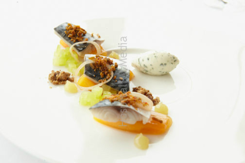 Pickled herring, persimmon, cucumber and bergamot puree