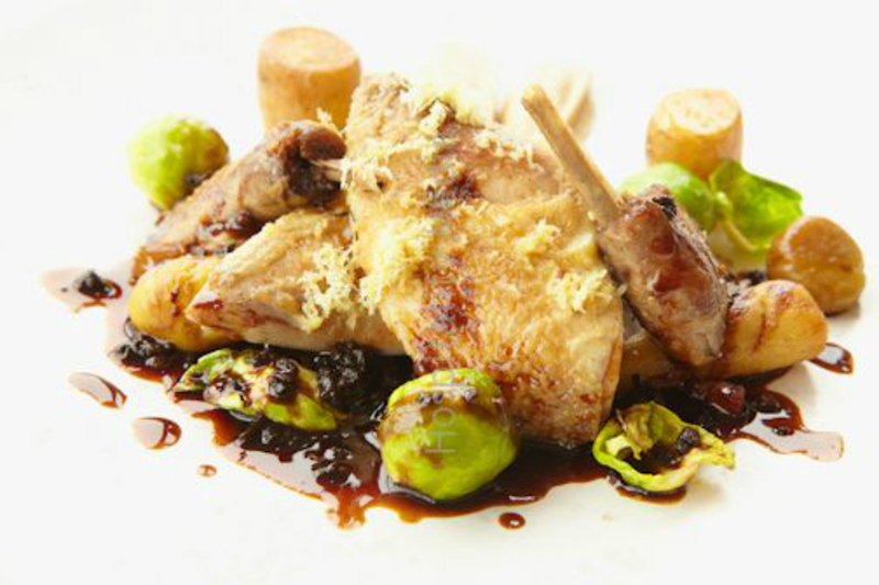 Roast Partridge, glazed baby parsnips, parsley root puree, Brussels sprouts and bacon, liver jus