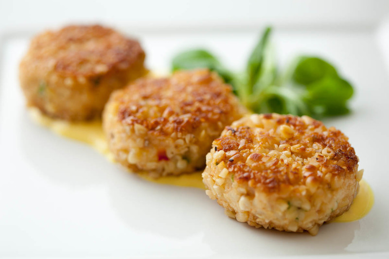 Crab Cakes with Avocado Cubes