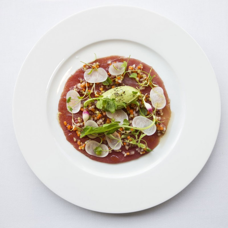 Carpaccio of Tuna with a Salad of Crab and Gazpacho