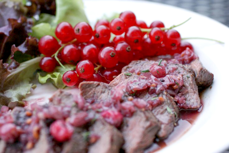 Venison with juniper, redcurrant and port wine sauce