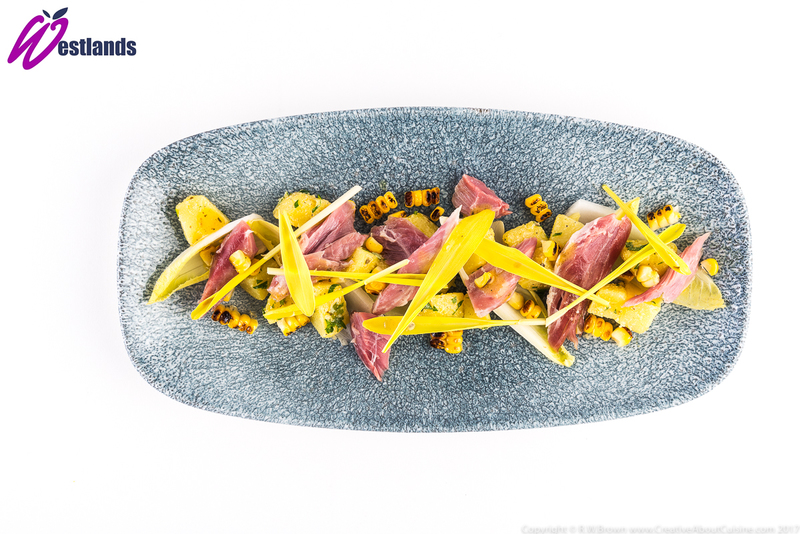 Ham Hock, Charred Corn and Mustard with Westlands Popcorn Shoots and Chicory - 1