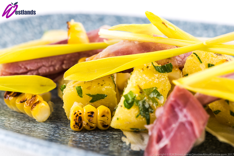 Ham Hock, Charred Corn and Mustard with Westlands Popcorn Shoots and Chicory - 3