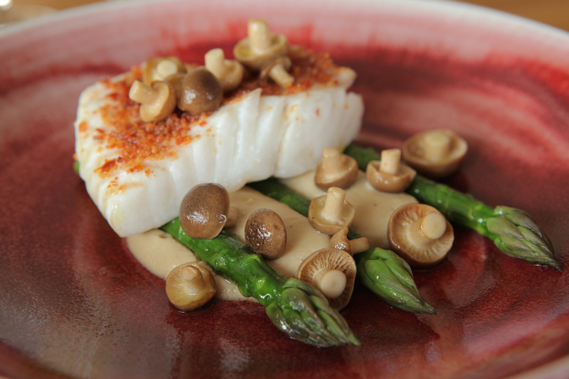 Turbot, Bacon, Asparagus and Smoked Mushrooms - 1