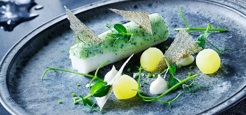 Greenland halibut and greens with marinated apples and celeriac puree