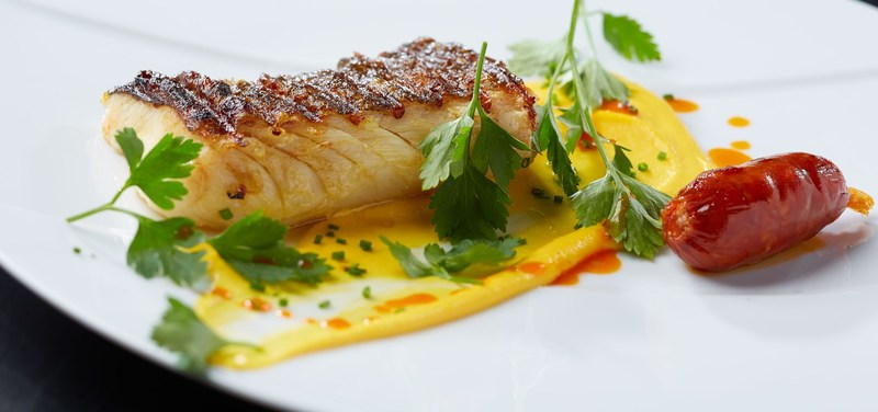 Cod with skin and root vegetable purée & chorizo