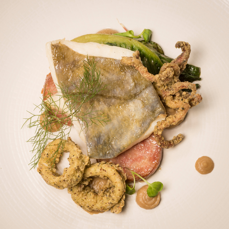 Fillet of North Sea John Dory with Thyme-fried Calamari,  Pearl Barley 'Risotto' of Majoram, Buttered Lettuce and Devilled Crab