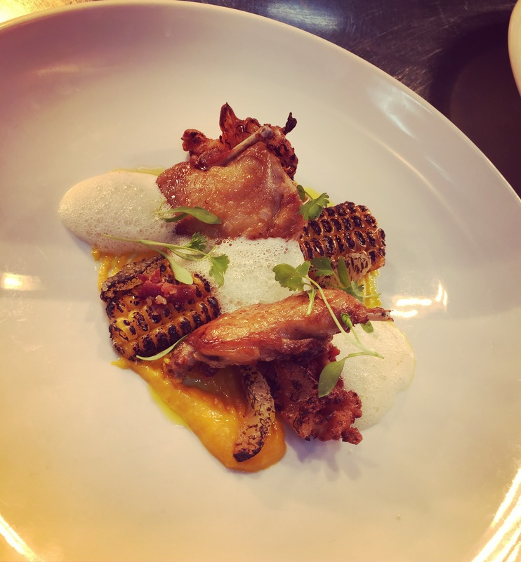 Quail and bacon bhaji