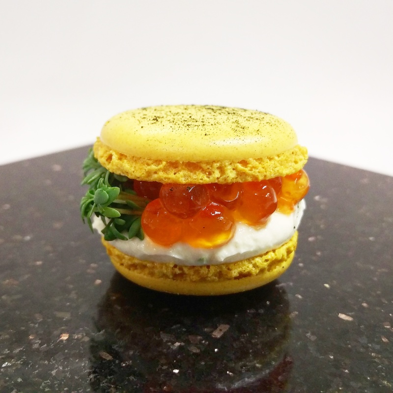 SAFFRON & SALMON EGGS MACARON :black_small_square: cream cheese :black_small_square: lime :black_small_square: garden cress :black_small_square: dried spirulina