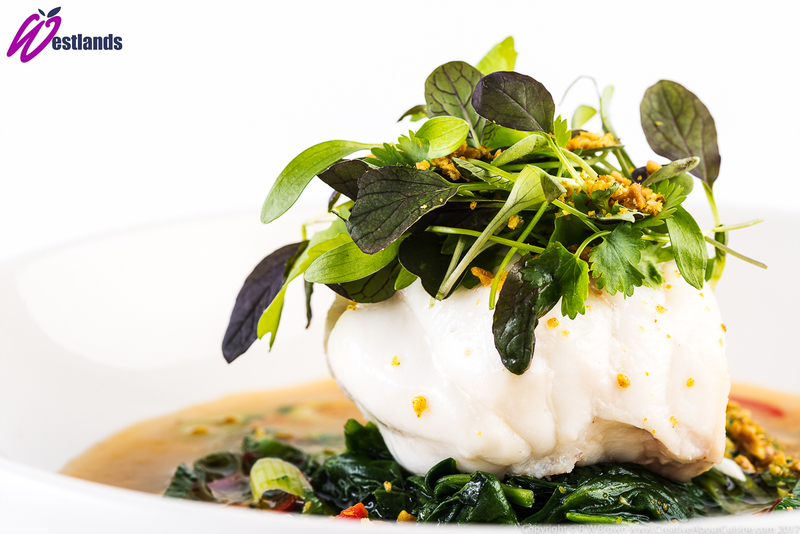 Monkfish poached in spiced coconut milk with Westlands oriental micro salad and spiced peanut crumb - 3