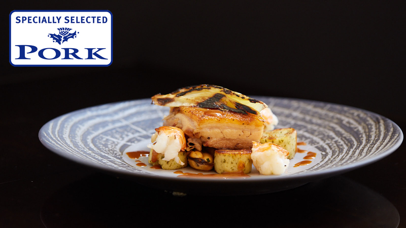 Marinated Ayrshire pork belly, Langoustines, herb dumplings & shellfish bisque using Specially Selected Pork