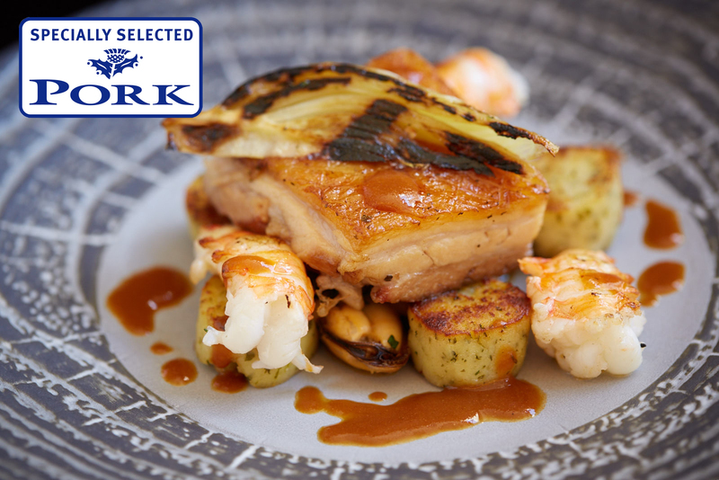 Marinated Ayrshire pork belly, Langoustines, herb dumplings & shellfish bisque using Specially Selected Pork - 4
