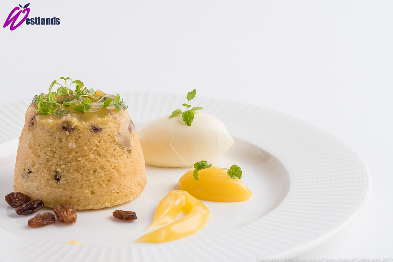 Lemon and sultana sponge pudding with lemon curd and Westlands Micro lemon balm - 1