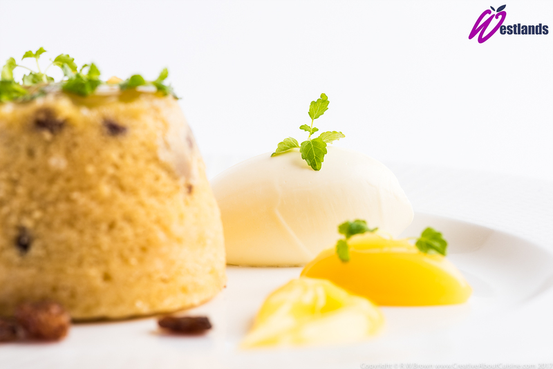 Lemon and sultana sponge pudding with lemon curd and Westlands Micro lemon balm - 2