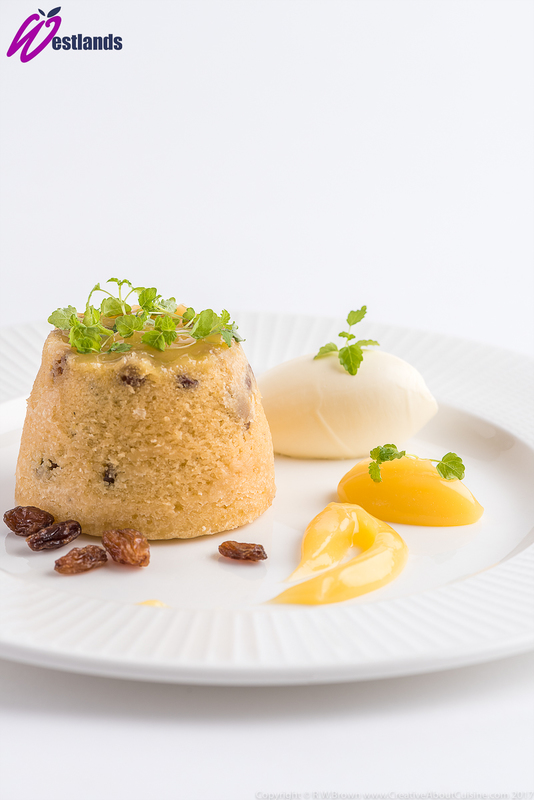 Lemon and sultana sponge pudding with lemon curd and Westlands Micro lemon balm - 3