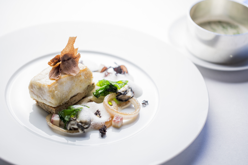 Halibut, oyster and seaweed