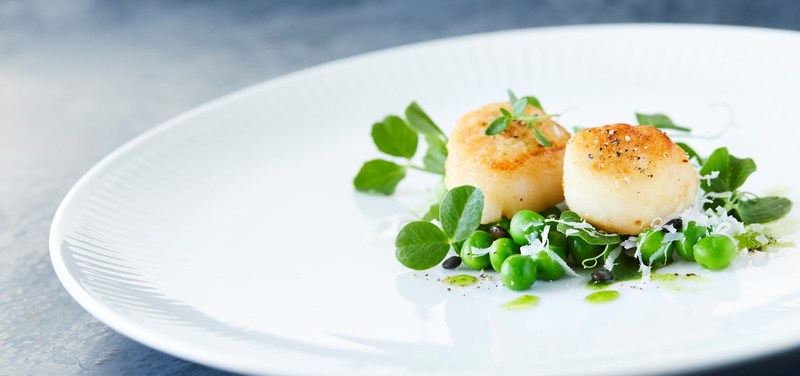 Fried scallops with peas and dill oil