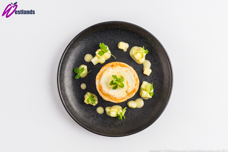 Grilled goats cheese with celery and apple salsa and Westlands micro lovage - 1