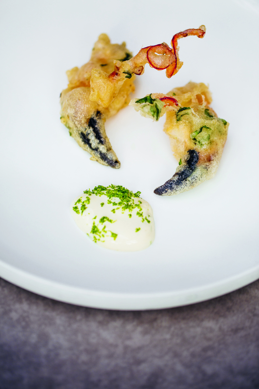 Crab claw tempura with lime mayonnaise