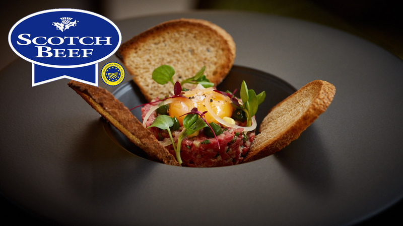 One Square Scotch Beef steak tartare with confit egg yolk, toasted sourdough and parsley gel